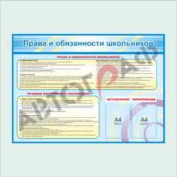 № 62 Права и обязанности школьников размер 1400х1000мм