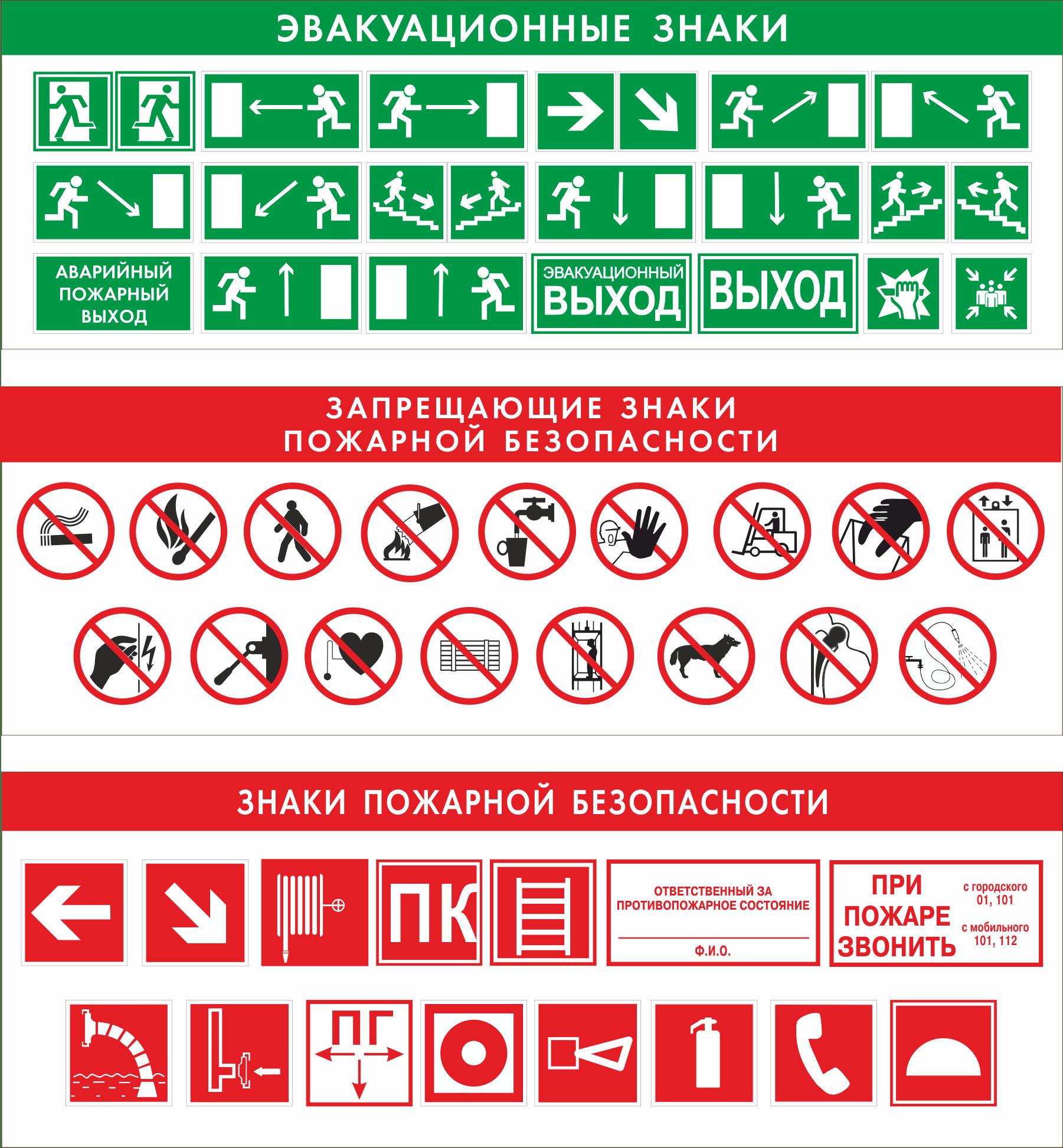 Пожарные и эвакуационные знаки